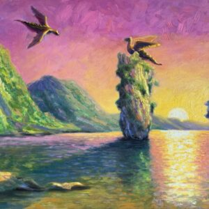 Once Upon a Time, original oil painting, fantasy with dinosaurs