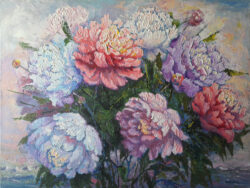 Peonies and Mountains